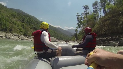 Rafting on the Dudh-Koshi river. Nepal