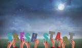 Composite image of hands holding up fresh start poster