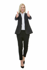 smiling blonde businesswoman thumbs up