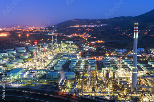 industrial factory at night - 79556432