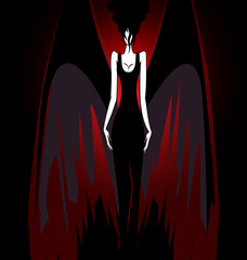 girl with dark wings