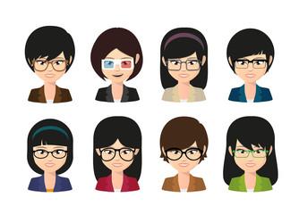 Female asian avatar wearing glasses