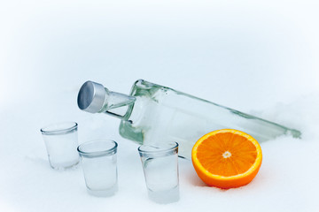 Bottle of vodka with orange in the snow