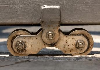 Steel automatic gate wheel closeup