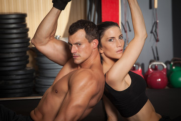 Fitness workout man and woman