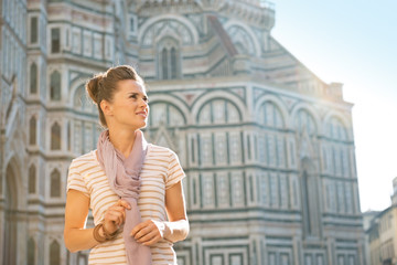 Portrait of happy woman looking on copy space  in florence