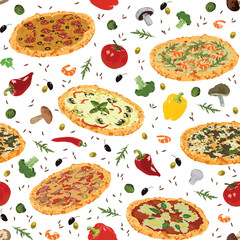seamless pattern with different pizza and spices