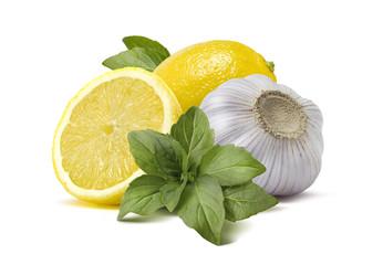 Lemon garlic basil pesto cooking ingredients isolated on white b