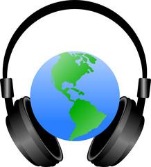 kula ziemska i słuchawki