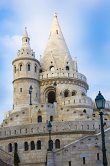 Main tower of Fisherman Bastion of Castle Hill in Budapest
