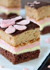 Сhocolate cake with strawberry souffle.