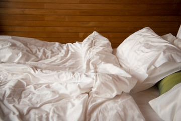 the bed after waking up