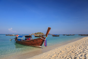 Longtail boat and beautiful ocean of Koh Lipe island, Thailand