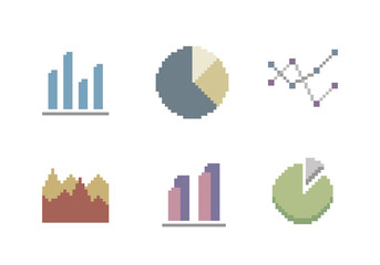 Chart And Diagram Icon Set In Pixel Art Style