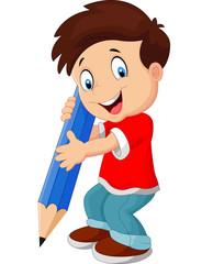 Cartoon boy with pencil