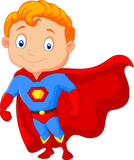 Fototapety Cartoon little boy superhero