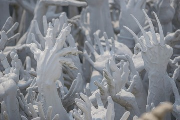 Hands Statue from Hell in Wat Rong Khun at Chiang Rai, Thailand