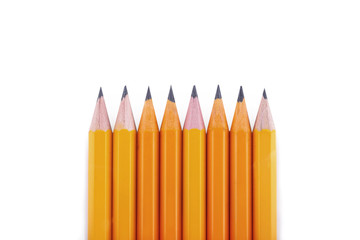 Pencils on a white background