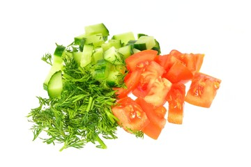 Sliced tomato, cucumber and dill
