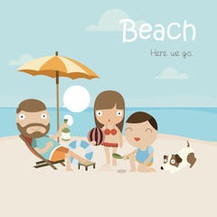 Vector illustration of family with dog at the beach