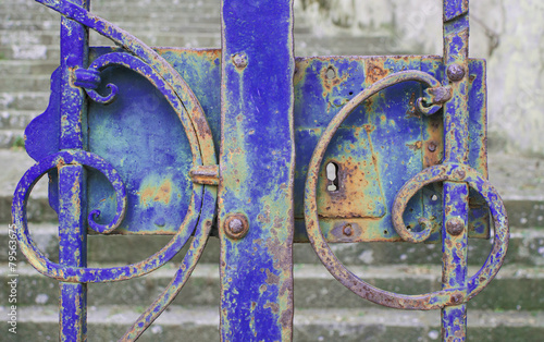 Blue iron gate closed © edomor