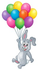 Rabbit with balloons theme image 1