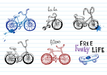 Hand drawn bicycles.