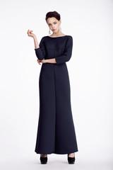 Full Length Portrait of Elegant Woman in Long Dress