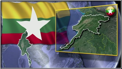 Myanmar flag and map animation FULL-HD