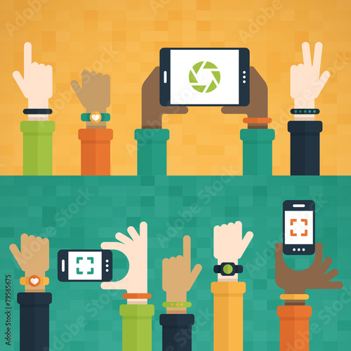 Hands Raised with Mobile Devices - 79565675