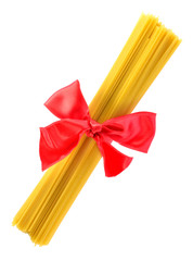 Pack of pasta associated red ribbon bow