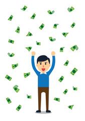 Rich man standing in a rain of money