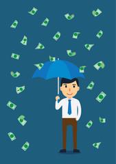 Businessman open an umbrella in a rain of money