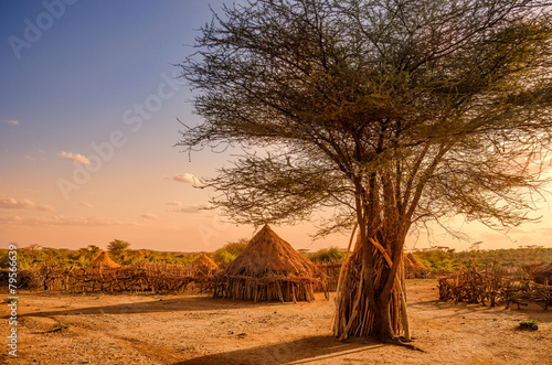 Fotobehang Overige Hamer village near Turmi, Ethiopia