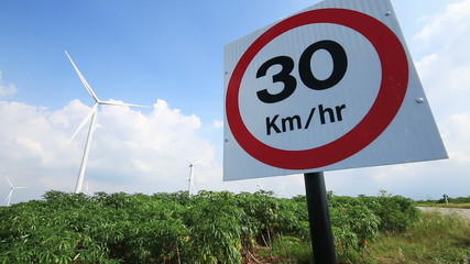 30 km/hr traffic sign ,Dolly slide shot.