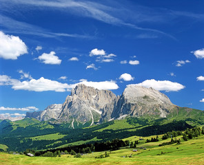 Massif Sasso Lungo (Langkofel) from the northwest, Alpe di Siusi