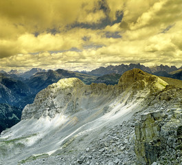 """View from the mountain huts """"Torre di Pisa"""", Dolomites Mountains"""