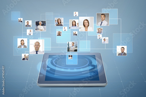 pictures of businesspeople over tablet pc - 79567417