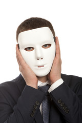 Businessman with white mask