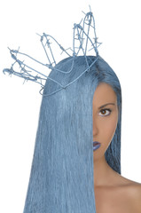 portrait of woman with blue hair, crown