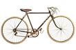 Leinwanddruck Bild - Vintage rusted race bike isolated on white