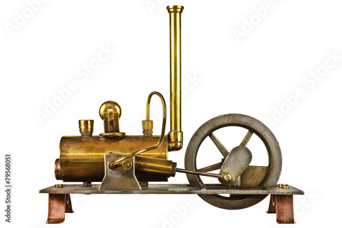 Leinwanddruck Bild Vintage steam engine isolated on white