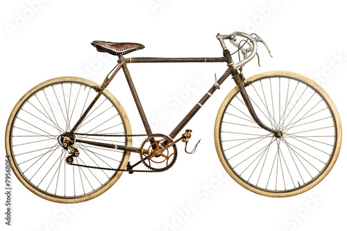 Vintage rusted race bike isolated on white - 79568054