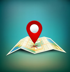 vector background with folded maps with red point markers
