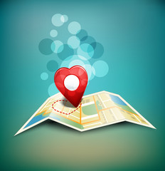 """vector romantic background """"territory of love"""" with a map and a"""