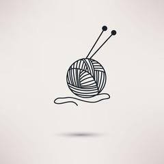 Woolen thread and needles, flat design vector.