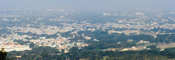 Panoramic view to the city of Mysore
