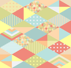 Original seamless pattern in patchwork style