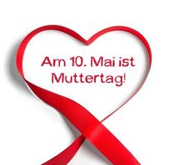 Muttertag 10. Mai - Erinnerung, Schleife, rot, Herzform