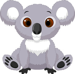 Cute cartoon koala sitting